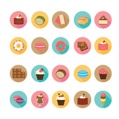 Set of flat design dessert icons, Illustration eps10