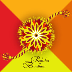 Raksha Bandhan artistic colorful card creative design