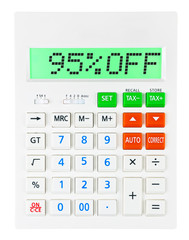 Calculator with 95%OFF on display on white background