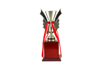 Silver trophy isolated on white on a white background
