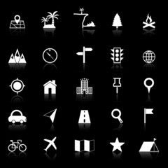 Location icons with reflect on black background