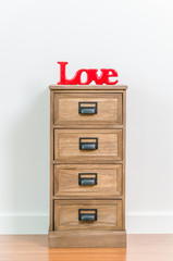Love on bedside table
