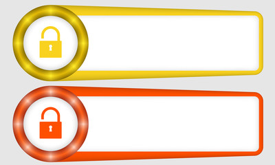 yellow and red frames for any text with padlock