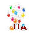 Gift box with confetti and balloons