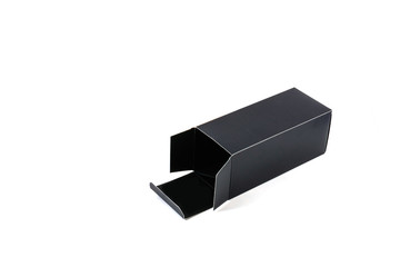 black paper box isolated on white