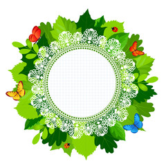 suSmmer round leaves frame with lace and butterflies