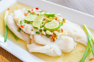 Steamed basa fish
