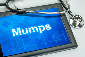 Tablet mit der Diagnose Mumps auf dem Display