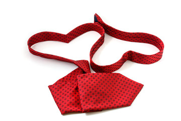 Red necktie forming two heart