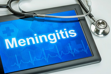 Tablet mit der Diagnose Meningitis auf dem Display