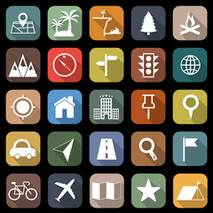 Location flat icons with long shadow