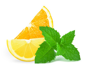 orange with lemon and mint