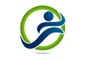 Fit  wellness center logo sports abstract