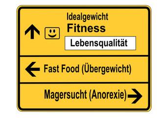 Schild Fitness Lebensqualität