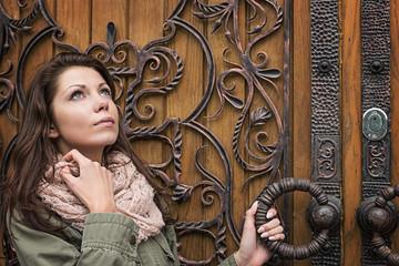 woman door retro