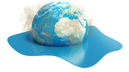 Earth globe melting into water on white background