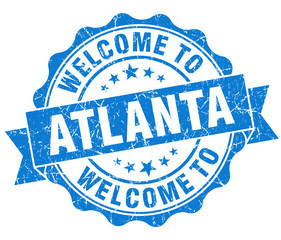 welcome to Atlanta blue vintage isolated seal
