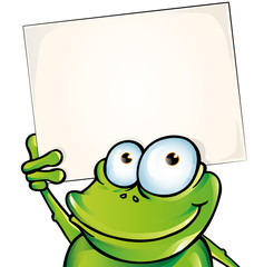 funny frog with signboard