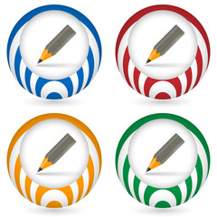 set of four icon with pencil
