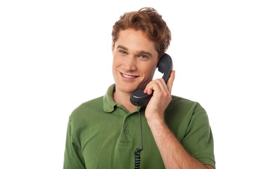 Smart guy answering phone call
