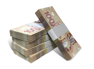 Canadian Dollar Notes Bundles Stack