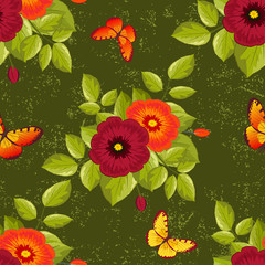 seamless green flower pattern with butterflies