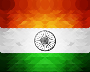 Beautiful indian mosaic flag circle bright colorful background v