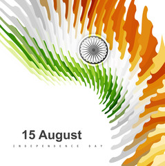 Indian flag for stylish Independence Day creative texture wave t