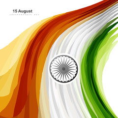 Beautiful illustration of stylish Indian flag independence day w