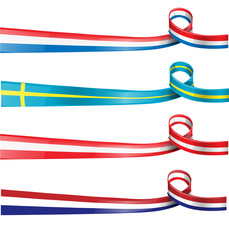european flag ribbon flag set
