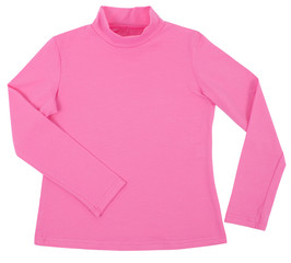 Pink child turtleneck. Isolated on white