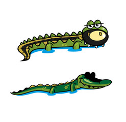 Two Crocodile Vector Illustration