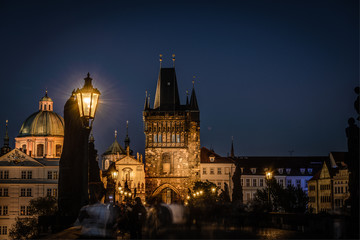 Charles Bridge in Prague ,Czech Republic .