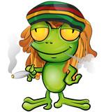 Rastafarian frog cartoon