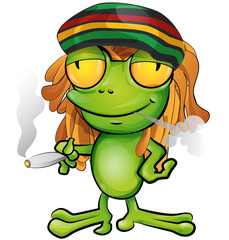 Rastafarian frog cartoon
