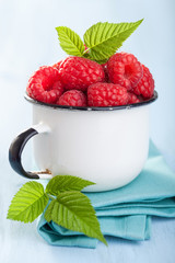 fresh raspberry in enamel cup over blue background