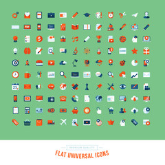 Set of flat design universal icons