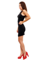 Full length shot of sexy woman in evening dress, isolated on whi