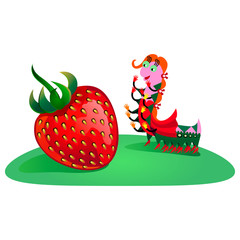 Vector illustration of funny caterpillar and strawberry