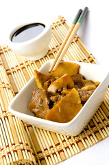 Chinese food, beef with bamboo and mushrooms