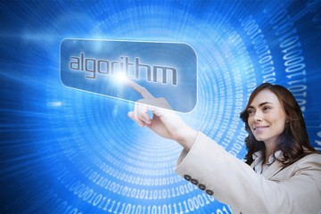 Businesswoman pointing to word algorithm