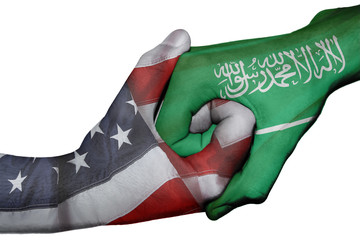 Handshake between United States and Saudi Arabia
