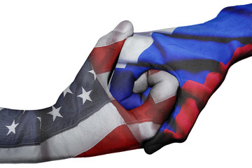 Handshake between United States and Russia