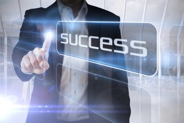 Businessman presenting the word success