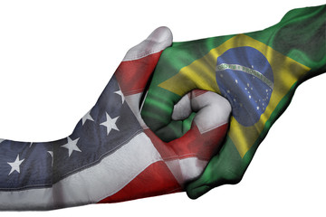 Handshake between United States and Brazil
