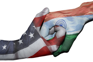 Handshake between United States and India