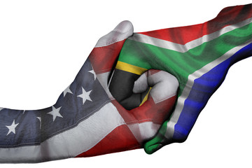 Handshake between United States and South Africa