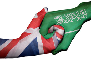 Handshake between United Kingdom and Saudi Arabia