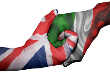 Handshake between United Kingdom and Italy