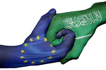 Handshake between European Union and Saudi Arabia